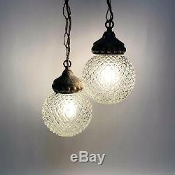Mid Century Hollywood Regency Double Swag Pendant Hanging Lamp Light Gold Ice