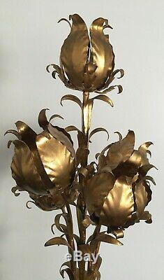 Mid Century Hollywood Regency Italian 5 Light Gold Tole Flower Floor Lamp
