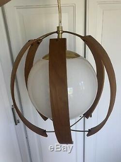 Mid Century Imperialite Wood Orb Light Fixture Chandelier