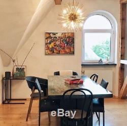 Mid Century Inspired Handmade Brass Starburst Chandelier Sputnik Ceiling Light