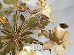 Mid Century Italian Tole Chandelier with Porcelain Flowers Six-light