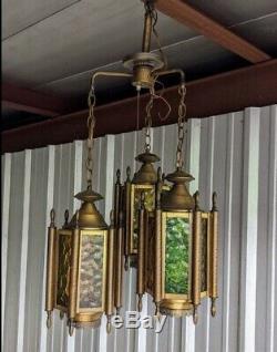 Mid Century Lamps Ceiling Fixture Lighting Trio Hanging Bronze Metal Lamps
