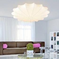 Mid Century Modern 3 Light Flush Mount Ceiling Lamp White Silk Shade Fixture Bar