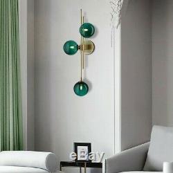 Mid-Century Modern 3-Light Green Glass Globe Wall Sconce Bedside Wall Fixture UL