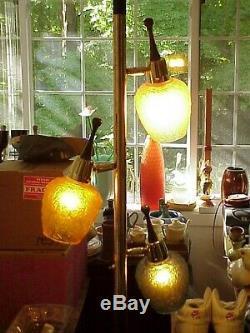 Mid Century Modern 3-Light Teak, Brass, Textured Stained Glass TENSION POLE LAMP