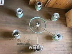 Mid Century Modern ATOMIC Aluminum CHANDELIER 6 Lamp Hanging Light Fixture 66