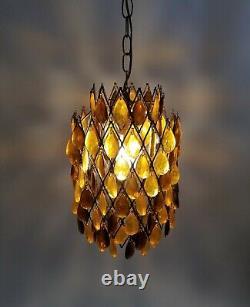 Mid Century Modern Amber Lucite Teardrop Gems Swag Pendant Chandelier VTG Lamp