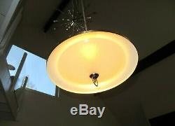 Mid Century Modern Atomic Flying Saucer Rectractable Light Fixture Chandelier