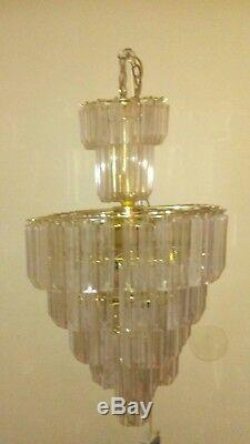 Mid Century Modern Brass & Lucite Prisms 7 Tier Chandelier 14 Light Amazing