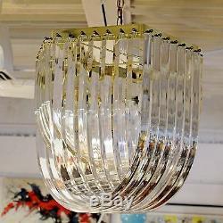 Mid Century Modern Brass & Lucite Ribbon Chandelier Light Fixture
