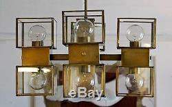 Mid Century Modern Bronze Glass 8 Cube Corbett Light Fixture Chandelier Sciolari