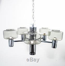 Mid Century Modern Chandelier Light Lamp Lightolier Sciolari Chrome Lucite Glass