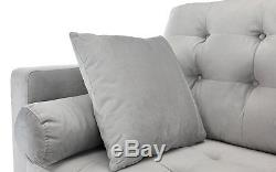 Mid-Century Modern Couch Tufted Velvet Fabric Sofa, 4 Accent Pillows, Light Grey