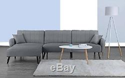 Mid Century Modern Fabric Sleeper Futon Sofa, Living Room L Shape Light Grey