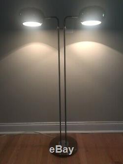 Mid Century Modern Floor Lamp Brown Enamel 2 Light Space Age