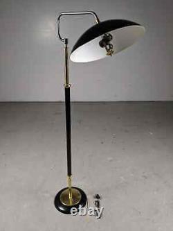 Mid Century Modern Flying Saucer Floor Lamp Sight Light Atomic Black & Gold VTG