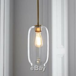 Mid Century Modern Glass Jar Geo Pendant Light Kit Ceiling Chandelier Fixture