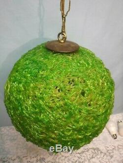 Mid Century Modern Green LUCITE Hanging SWAG LAMP Light Spaghetti Spun 12' Chain