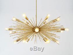 Mid Century Modern Handmade Gold Brass Chandelier 18 bulb Sputnik Urchin Light