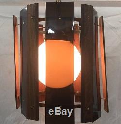 Mid Century Modern Hanging Chandelier Danish Lamp Teak Wood Plastic Light Cool