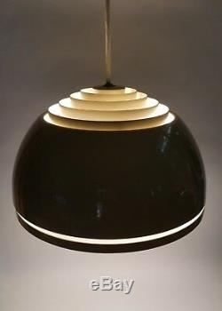 Mid Century Modern Hanging Lightolier Tan Louvered Dome Pendant Space Age Light