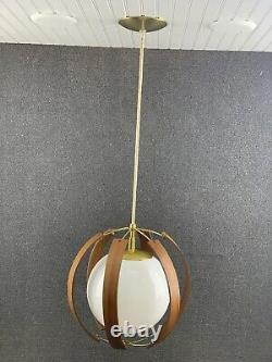 Mid Century Modern Imperialites Bent Walnut Framed Globe Pendant Light Fixture