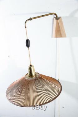 Mid Century Modern Lamp Wall Sconce Gerald Thurston Lightolier Brass Light Wood