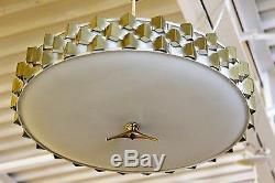 Mid Century Modern Light Craft of Ca. Brass Pull Down Ceiling Light Fixture