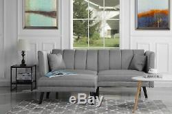 Mid-Century Modern Light Grey Futon Sofa Bed, Living Room Sleeper Couch