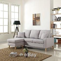 Mid Century Modern Linen Fabric Small Space Sectional Sofa Reversible Light Grey