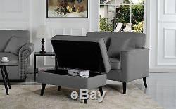 Mid-Century Modern Living Room Large Accent Chair Footrest / Storage, Light Grey