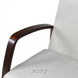 Mid Century Modern Loveseat Fabric Upholstered Armchair 2-Seater Sofa Light Grey