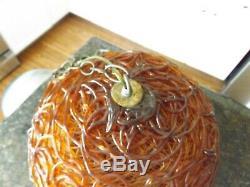 Mid Century Modern MCM Orange LUCITE Hanging LAMP Light Spaghetti Spun Glass