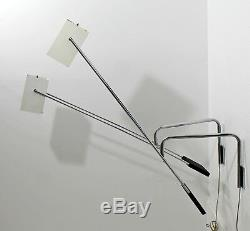 Mid Century Modern Pair Sonneman Adjustable Chrome Light Fixtures Sconces 1970s