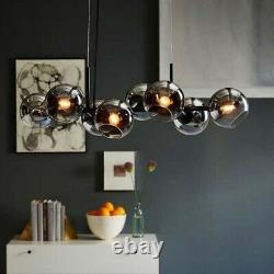 Mid Century Modern Pendant 8 Lights Ceiling Chandelier Home Glass Linear Fixture