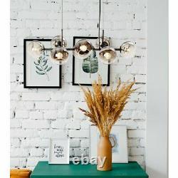 Mid Century Modern Pendant 8 Lights Ceiling Chandelier Home Glass Linear Fixture