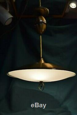 Mid Century Modern Pull-Down Atomic Saucer Ceiling Light with Original Shade 16
