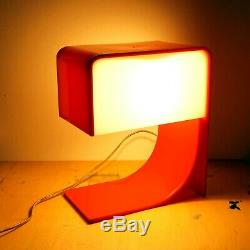 Mid Century Modern Red Plastic Table Lamp Neal Small Sculptural Lighting Acrylic