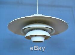 Mid Century Modern Retro Danish White Metal Ceiling Pendant Light by Jeka
