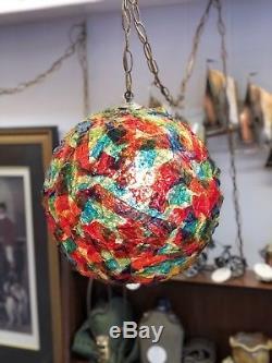 Mid Century Modern Ribbon LUCITE Hanging SWAG LAMP Light Spaghetti Spun Glass