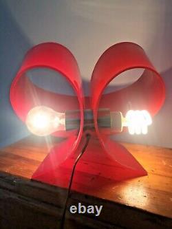 Mid Century Modern Space Age Unique Lucite Table Desk Lamp Light Plastic 1970s