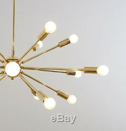 Mid Century Modern Sputnik Chandelier Brass Starburst Ceiling Light Lamp