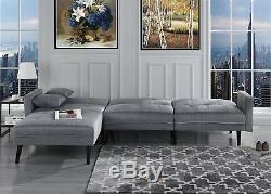 Mid Century Modern Style Sofa Sleeper Futon Sofa, L Shape Sectional, Light Grey