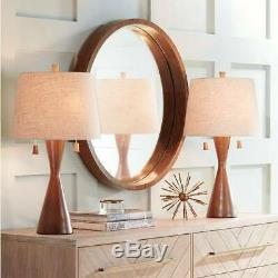 Mid Century Modern Table Lamps Set of 2 Brown Wood for Living Room Bedroom