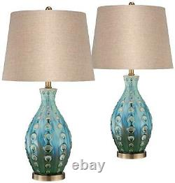 Mid Century Modern Table Lamps Set of 2 Ceramic Teal for Living Room Bedroom