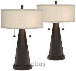 Mid Century Modern Table Lamps Set of 2 USB Bronze for Living Room Bedroom