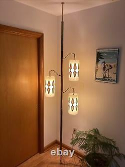 Mid Century Modern Tension Pole Lamp Wood 3 Lights Works Perfectly Beautiful