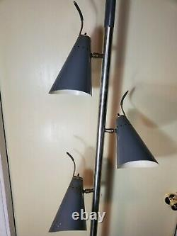 Mid Century Modern rare perforated metal cone pole tension light shipping change