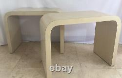 Mid Century Off White Lacquered Laminate Waterfall End Tables Light Stripe