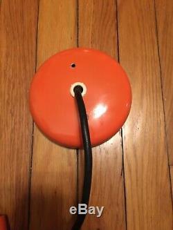 Mid Century Orange Pendant Light Complete Early 50s Union Made NICE